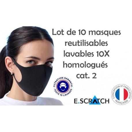 PACK de 10 MASQUES RÉUTILISABLES HOMOLOGUÉS
