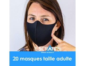 PACK de 20 MASQUES RÉUTILISABLES HOMOLOGUÉS